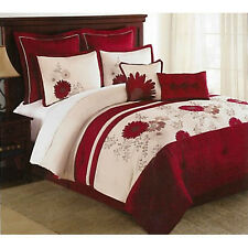 Miley Red Floral Luxury 8 PC Comforter Set Queen/King