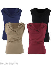 Gamiss Womens Ruched Cowl Neck Sleeveless Casual Stretchy Top Blouse tops
