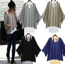Chic Womens Batwing Sleeve Causal T-shirts Loose Tops Blouse Tank Vest 2PCS Suit