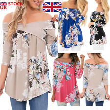 Womens Ladies Off Shoulder Floral Loose 3/4 Sleeve T shirt Tops Blouse Size 6-22