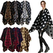 2017 Women Ladies Dot Cloak Cape Coat Poncho Shawl Sweater Outwear Cardigan W9F4
