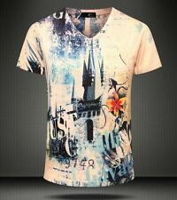 Men's Just Cavalli Graphic Short V-neck Fashion Clothing Cotton Base T-shirt