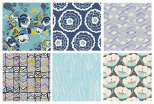 6 FABRIC QUILTING BUNDLE - Meadow Morning Walk -Leah Duncan- Blue Floral Fabric
