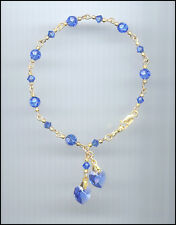 Beautiful Gold Filled Charm Bracelet w/ Swarovski SAPPHIRE BLUE Crystal Hearts