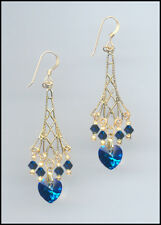 Sparkling Gold Earrings with Swarovski BERMUDA BLUE Crystal Hearts