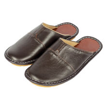 Comfortable Mens Slippers Genuine Leather Closed Toe House Shoes Indoor Flats