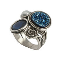 Modern Unique Sterling Silver 925 Ring Druzy Blue Shablool Women's Ring
