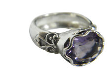 NEW SHABLOOL 925 Sterling Silver Purple lab-created Amethyst CZ solitaire Ring