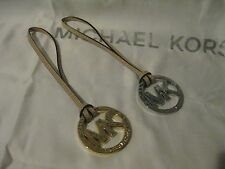 MICHAEL KORS GOLD SILVER  MK HANGTAG CHARM FOB FOR BAG TAN BEIGE LEATHER NEW