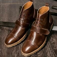 Fashion Handmade Leather Strap Decor Ankle Boots Mens Lace Up High Top Shoes New
