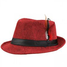 Trendy Fedora With Feathers Unisex Trilby Gangster Cap Straw Hat Beach Sun Trend