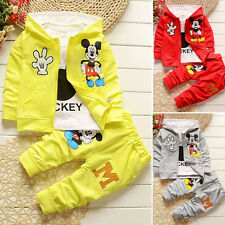 3pcs Kids Baby Boys Girls Outfits Set Mickey Mouse Coat+T shirt+Pants Clothing /