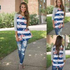 Casual Long Sleeve T-Shirt Fashion Womens Floral Summer Loose Tops Stripe Blouse