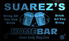 p1812-b Suarez's Home Bar Beer Family Last Name Neon Light Sign