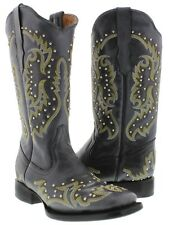 Womens Black Studded Leather Western Cowboy Stitched Square Toe Boots