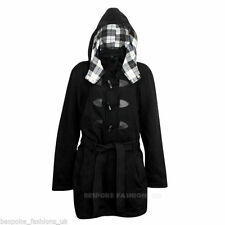 Ladies Women's Winter Plus Size Duffle Trench Coat Jacket With Hood Sizes 16-28