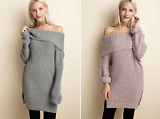 Women's Warm Cozy Off Shoulder Chunky Cable Knit Tunic Sweater Dress Long Sleeve