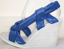 MAISON MARTIN MARGIELA Blue Leather Wedge Sandals Shoes 7  7.5  or  8