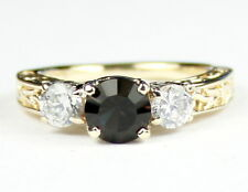 • R254-14, Smoky Quartz w/ 2 Accents, 14k Yellow Gold Ladies Ring -Handmade