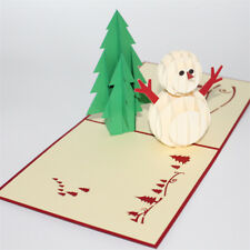 Greeting Card Handmade Gift Paper Carving Christmas Tree Snowman Blessings-NEW