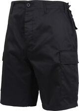 Mens Black Military Combat BDU Cargo Shorts with Zipper Fly