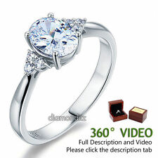 1.5 Ct Oval Created Diamond Sterling 925 Silver Ring Bridal Wedding Engagement