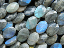 Natural Blue Labradorite Gemstone Beads Labradorite Oval Faceted Beads 12mm 13mm