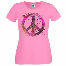 Ladies Pale Pink Painted Peace Symbol T-Shirt Hippy One Love Tshirt