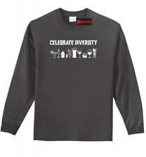Celebrate Diversity Funny LS T Shirt Alcohol Party Martini Beer Graphic Tee Z1