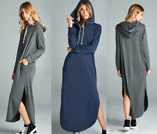 Women's Casual Long sleeve Hoodie Sweatshirt Maxi Dress Pullover Pockets Sweater