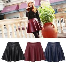 Women Faux Leather Mini Short Pleated Skirt High Waist Flared Skirts HOT
