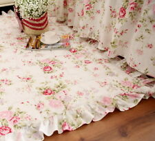 Shabby Chic Country Floral Ruffles Door Mat Pad White Cotton Quilted Floor Sofa