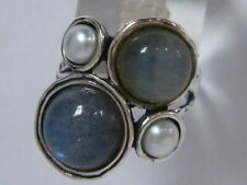 Fine Sterling Silver 925 Ring Mix stones Blue/green Labradorite Jewelry