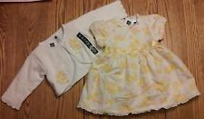 BABY GAP GIRLS YELLOW & PINK FLORAL DRESS AND SWEATER ~ 3-6 OR 6-12 MONTHS ~ NWT