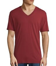 James Perse Men's Short Sleeve V Neck Tee Relaxed Fit Heat Red USA $60 msrp NWT