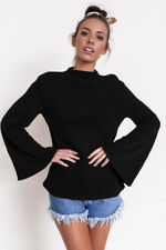 Casual Loose Pullover Sweater jumper Fashion Women Horn sleeve O-Neck Top Blouse