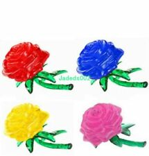 1set 3D roses crystal building blocks Crystal Puzzle blocks Red/blue/pink/yellow