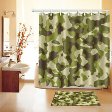 Dark Green Camouflage Pattern Shower Curtain & Bath Mat Carpet Waterproof Fabric