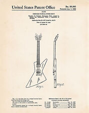 1958 Gibson Futura Explorer Poster Patent Art Print Gifts For Guitar Players