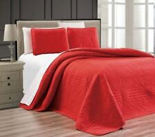 Twin XL Full Queen Cal King Size Bed Solid Red 3 pc Quilt Set Coverlet Bedspread