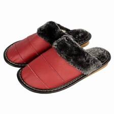 Comfy Mens Bedroom Shoes Indoor Genuine Leather Warm Fuzzy Slippers House Flats