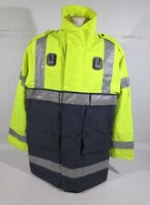 Ex Police Navy Blue & Hi Vis Waterproof Jacket With Silver Reflective Strips