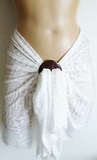 WHITE AZTEC TRIBAL SHEER SHORT BEACH SARONG PAREO WRAP FREE COCONUT SHELL BUCKLE
