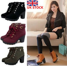 Women Ladies Lace Up Ankle Boots Platform High Heels Winter Shoes Size 2 3 4 5 6