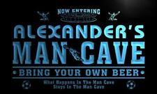 x0141-tm Alexander's Man Cave Soccer Bar Custom Personalized Name Neon Sign