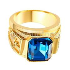 Vintage IP Gold Plating Carved Flying Dragon Totem Ring with Blue Rhinestone