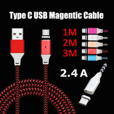 1M 2M 3M 2.4A Magnetic Adapter Fast Charger Type C USB LED USB-C Charging Cable