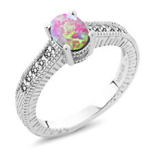 0.80 Ct Oval Cabochon Pink Simulated Opal White Diamond 925 Sterling Silver Ring
