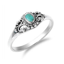 Women 7mm 925 Silver Simulat Turquoise Promise Vintage Antique Ring Band