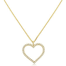 0.13 cttw Diamond Solid 14K Yellow Gold Exquisite Heart Pendant Necklace